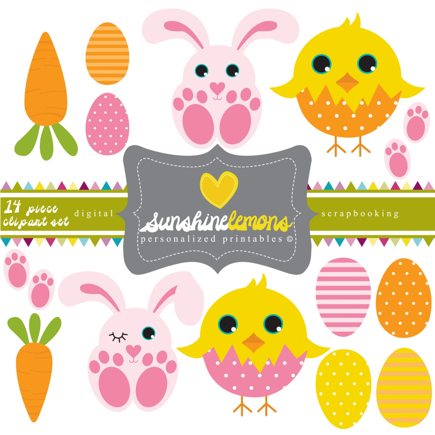 Cute Easter Bunny Clipart 14 piece clipart set by SunshineLemons