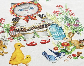 LF998 - Linen Cotton Blended Fabric - Lovely Cats - Bird and flower -  One  Panel(140cmx39cm)