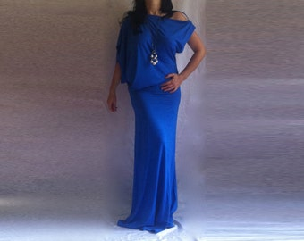 Asymmetric  Wide Neckline Dress Cotton Spandex