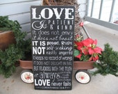 18x36 inches - 1 Corinthians 13 --  Love is Patient Love is Kind  -- Wedding --  Love Verse --  Painted Wooden Subway Typography Art Sign