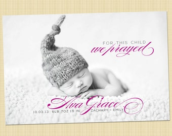 Christian photo birth announcement - for this child I/We prayed 1 samuel 1:27 - Digital