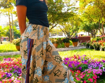 Harem Pants, Batik, Cotton, Cream Flower -- Aladdin Pants -- Women's Harem Pants -- Drop Crotch Style