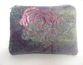 Hand printed velvet purse - embroidered velvet pouch - vintage lace rose purse - zipped pouch - embroidered cosmetic purse