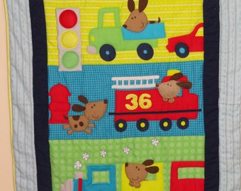 Dogs on the GO Appliqued Baby Quilt, Felt and Flannel, Bright Blues, Greens and Yellow.  So Cute