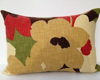 Floral Decorative Pillow Cover 14X20 Home Decor Fabric-Throw Pillow-Brown-Accent Pillow-Lumbar Pillow-Toss Pillow