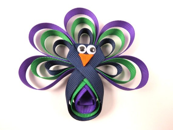 Peacok Ribbon Sculpture - Purple Blue Green Peacock Hair Bow -  Blue Purple Green Hair Clip - Ribbon Sculpture - Peacock Hair Clip