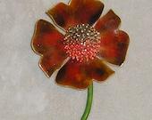Enamel Flower Brooch Pin Original by Robert Signed