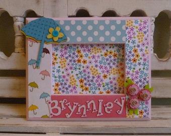 5x7 Frame Custom Baby Shower New Baby April Showers May Flowers Umbrella Rain Sunshine Personalized Name