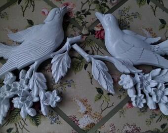 Shabby chic white bird wall hanging