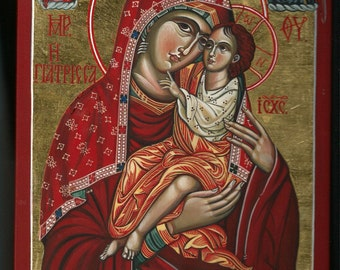 """Miraculous Icon of Panagia Giatrissa (""""The Healer""""). Mother of God with The Child Iisus. Byzantine icon handmade painted. Greek icon"""