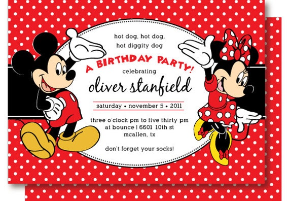 Mickey And Minnie Birthday Invitations and get inspiration to create nice invitation ideas