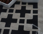 Natural Linen Hand Printed Tea Towel - Cross Point Black