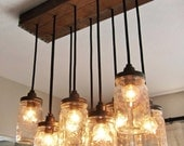 Handcrafted Mason Jar Pendant Chandelier  w/ Rustic Vintage Style Wood Crate Canopy