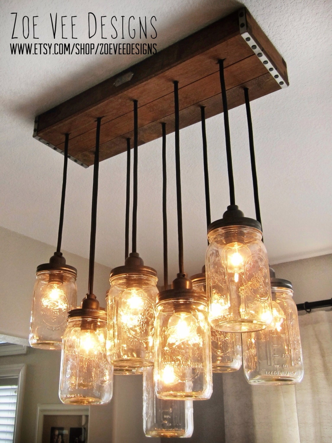 Handcrafted mason jar pendant chandelier w rustic vintage for Hanging lights made from mason jars