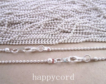 25pcs  2.0mm  27inch Silver color  ball necklace chain with Lobster Clasp