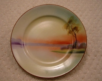 vintage china small plate - hand painted sunset scene