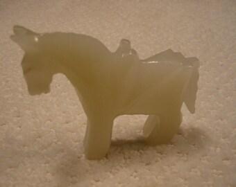 vintage white onyx horse with saddle figurine