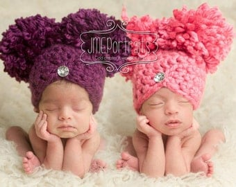 Baby Girl Hat Newborn Hat Photography Prop Photo Prop Pom Pom