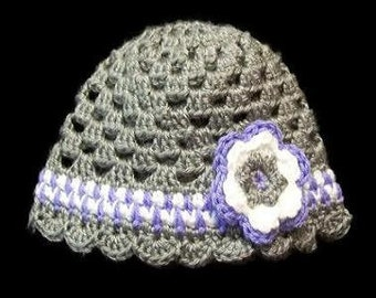 Spring Grey and Purple Crochet Beanie with Flower