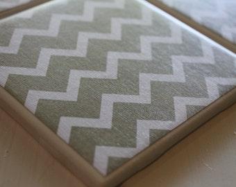 Tan Gold Chevron Coasters Four Piece Ceramic Tile Set