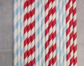 24 Red & Light Blue Paper Drinking Straws