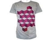 Grey tshirt abstract purple and pink fuchsia cube print  optical cubes