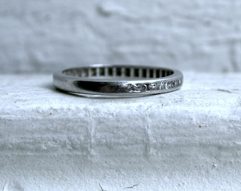 Vintage Channel Platinum Diamond Wedding Band - 0.14ct