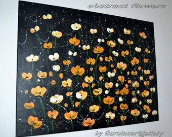 "Original Abstract Painting -Yellow Flower poppies Palette Knife Handmade by Carola, 32""x24"" FREE SHIPPING"