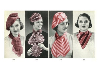 1930s Hats, Scarves and Bag Set of 4  - 8 Knit  and Crochet patterns PDF 5398