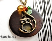 OWL Necklace - Antique Bronze Owl with Wooden Pendant Long Necklace