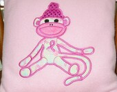 Breast Cancer support Sock Monkey Pillow