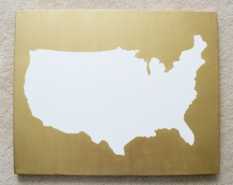 United States DIY Customize Map -16X20 Canvas Acrylic Painting, Wall Art, Decor Metallic Gold