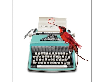 "I love you -  ART Print 8"" x 10""   VintageTypewriter, words, pop art, posters with typewriters, anniversary,Valentines day"