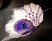 IVY blanc et violet plume de paon et pince à cheveux cristal voile, plume Fascinator, morceau de cheveux mariée