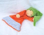 Reserved for Marjorie Waldorf Inspired blanket doll, orange green soft doll