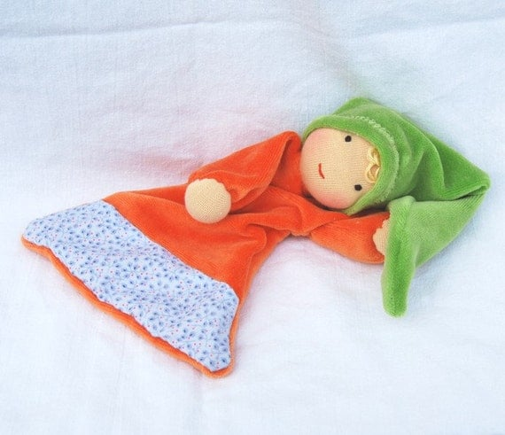 Reserved for Marjorie Waldorf Inspired blanket doll, orange green soft doll