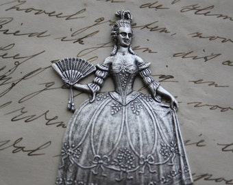 Marie Antoinette Stamping Ornament Silver Rococo Baroque Lady Pendant Jewelry Making