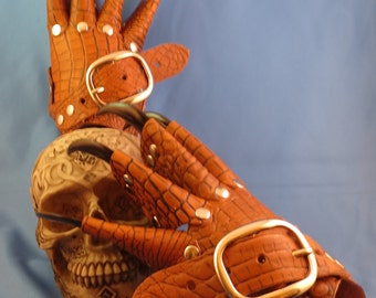 Black Leather Dragon Claws.w/Brass Rivets and Buckles Steampunk Gauntlets / Gloves