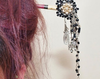 Hair Stick Chop Stick Black Vintage