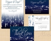 Midnight Blue Star Streamers Text-Editable Save the Date, Invitation, RSVP, and Thank You Package - Instant Download