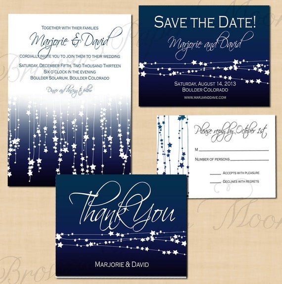 Midnight Blue Star Streamers Save the Date Invitation RSVP – Wedding Save the Date and Invitation Packages