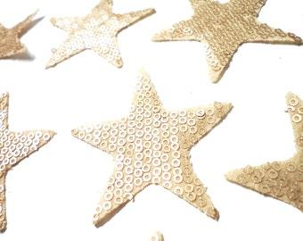 2 PCS Hot Fix Hotfix Iron On Metal Gold Sequins STAR Patch Applique for fashion embellishment.