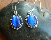Marcasite and Blue Cats Eye Earrings