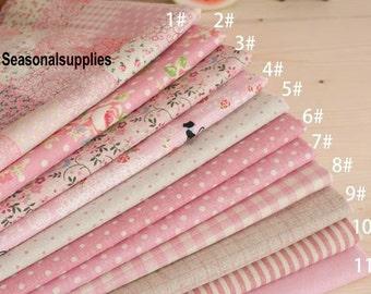 """Pink Bundle Pink Linen Cotton Fabric Bundle- Pink Fabric Fat Quarter Bundle, 11 Fat Quarters Pieces each 13""""X19"""" (QT128-M)"""