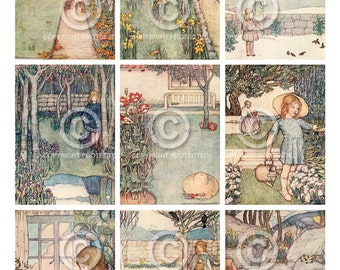 Instant Digital Download Printable Secret Garden Vintage Children's Gardening Book Illustrations