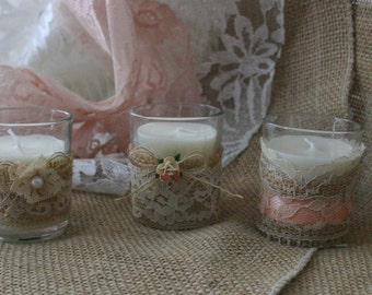 VINTAGE Lace tea candle votives for weddings, 10 hour burlap and IVORY LACE candles