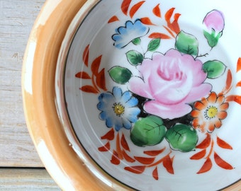 Vintage hand painted floral bowl / cottage chic rose bowl / flower bowl home decor / spring / summer / iridescent / country style home decor
