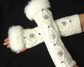Arm Warmers - womens Fingerless Gloves - knit with Italian buttons with Faux Fur Cuffs White gray