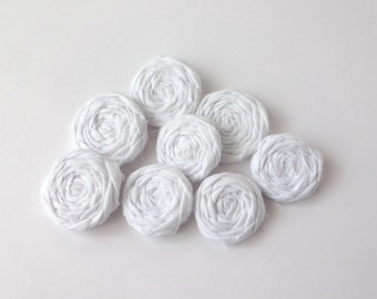 Snow White Fabric Rosettes Embellishment