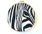 Zebra Screen Print - Stretched in Hoop
